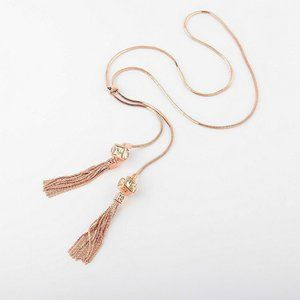 Henri Bendel Rose Tassel Adjustable Long Necklace